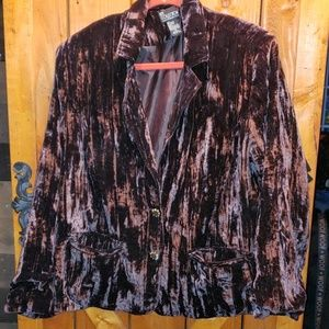 crushed velvet jacket 1x plus brown